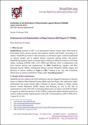 2018 CEDAW PSWG Endorsement Nepal Intersex StopIGM.org
