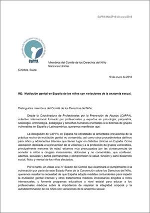 2018 CRC España Aprobación del Informe ONG Intersex IGM