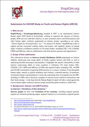 2018 OHCHR Youth NGO Intersex IGM